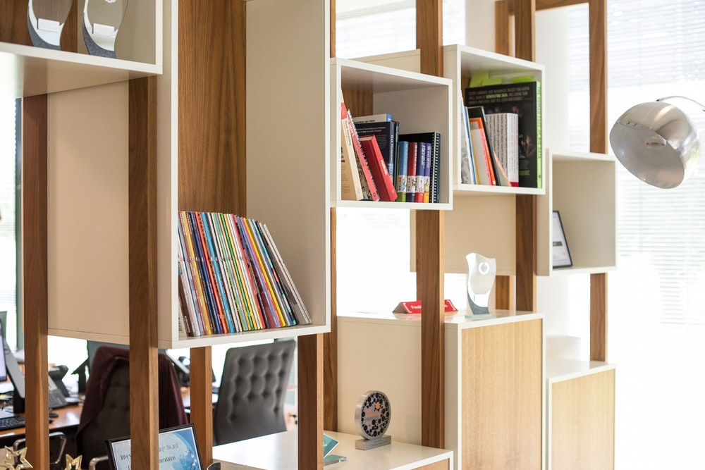 brown and white wooden cubby shelf