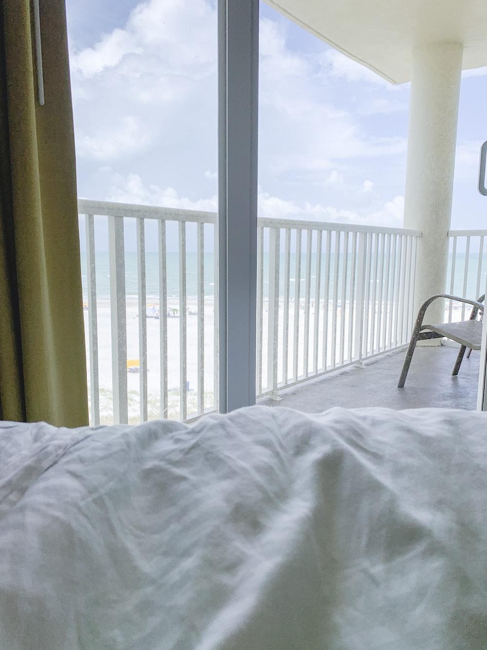 window overlooking a beach