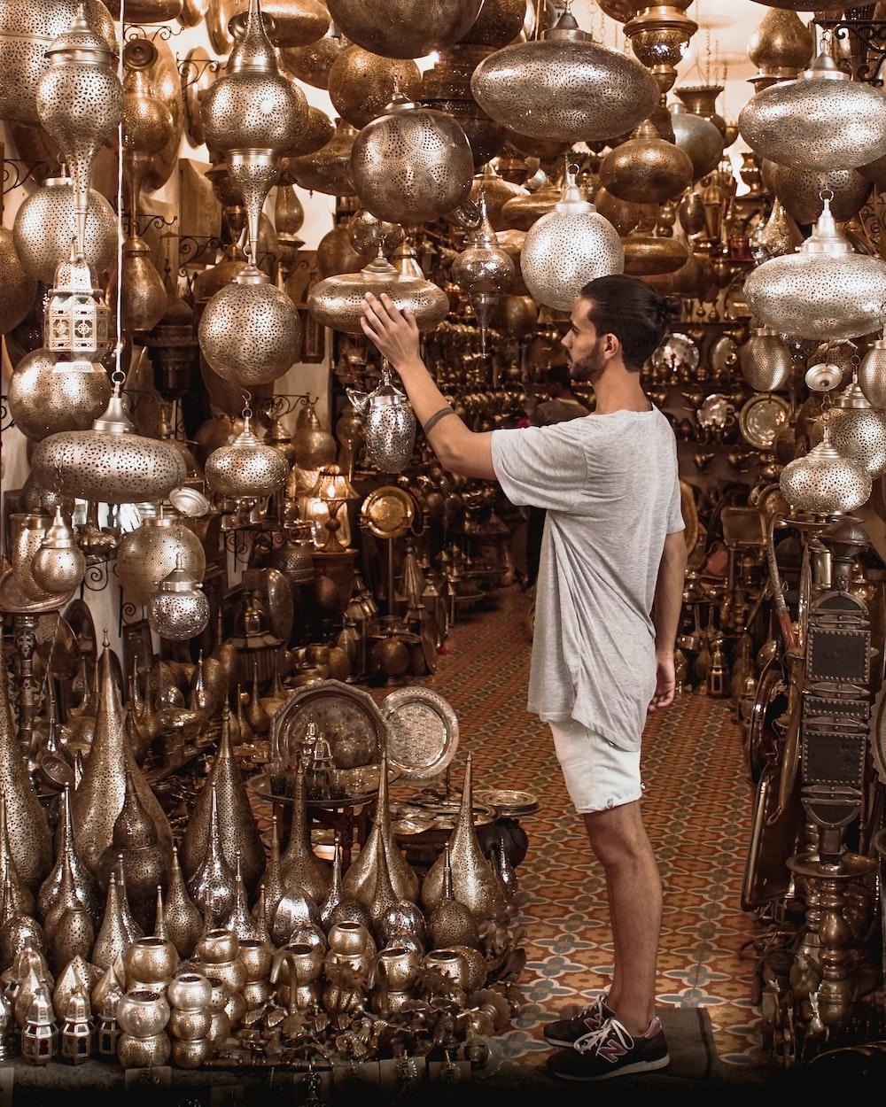 interior of a store full of metal jars