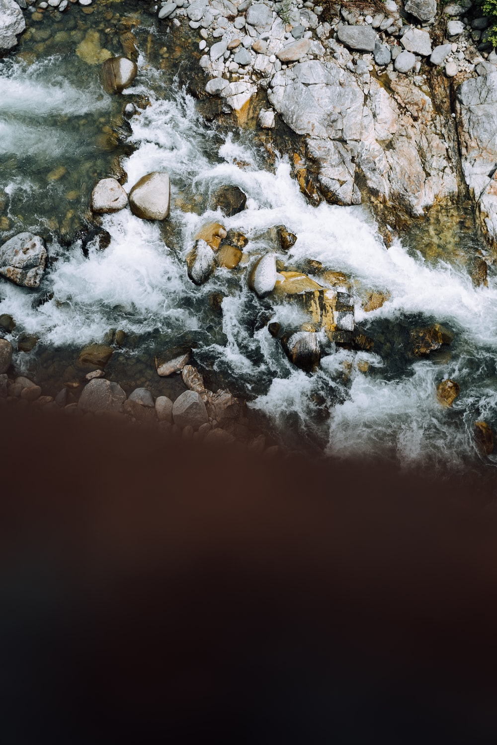 top view of a rocky river