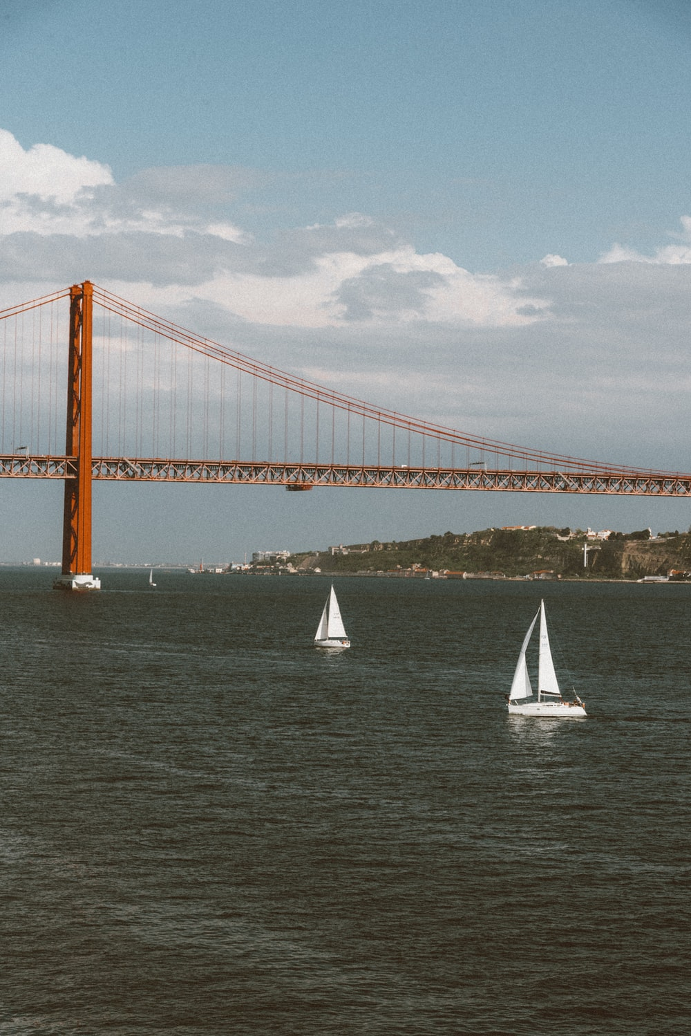 two white sailboats on body of water near bridge during daytime