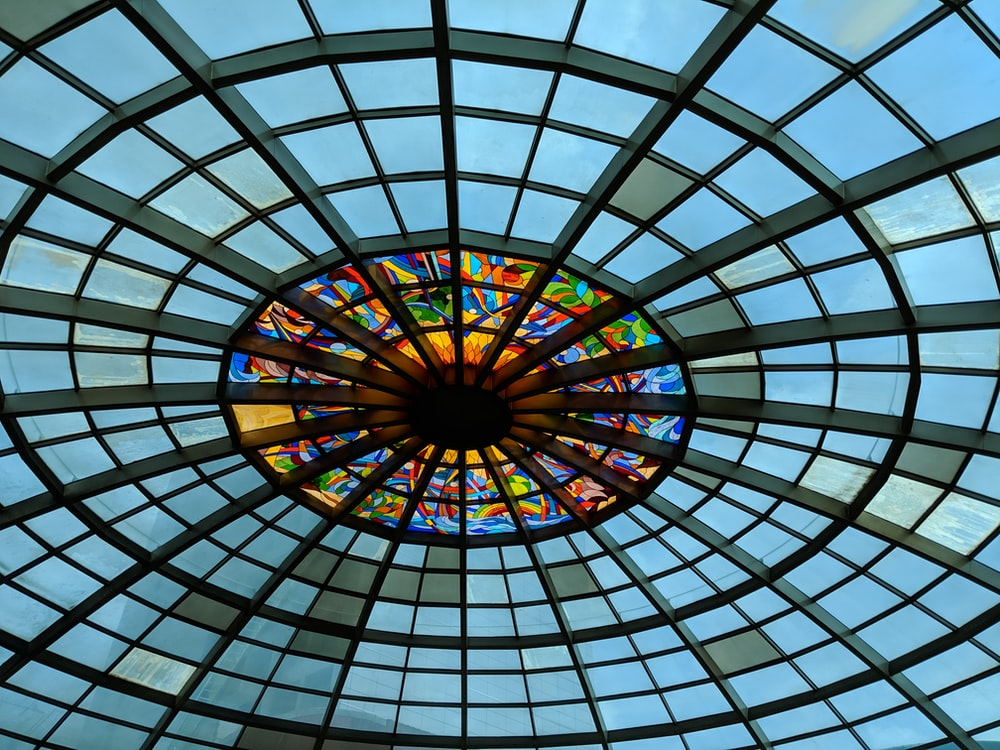 architectural photography of glass roof