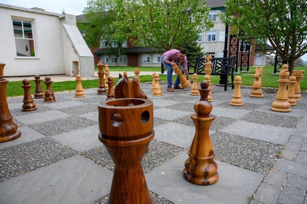 brown wooden street chess field