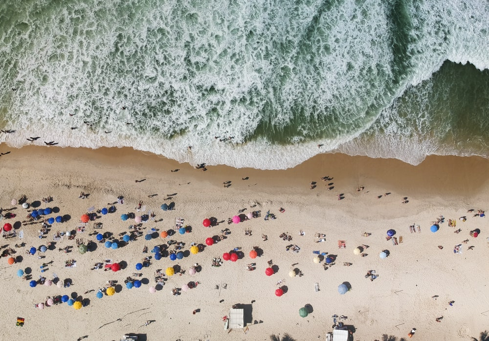 aerial photo of people on beach