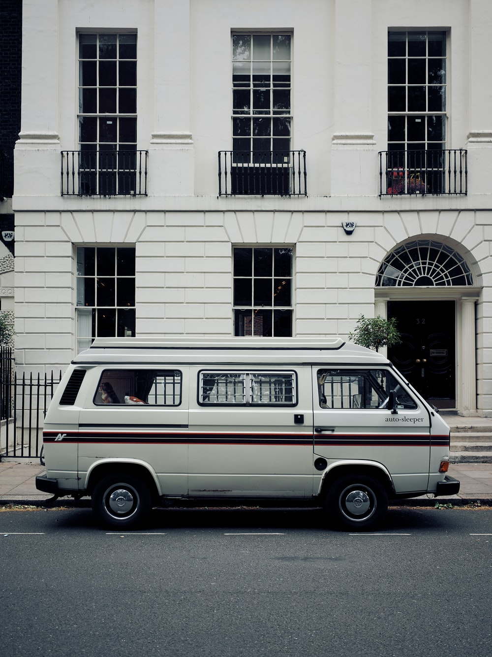 white and brown van