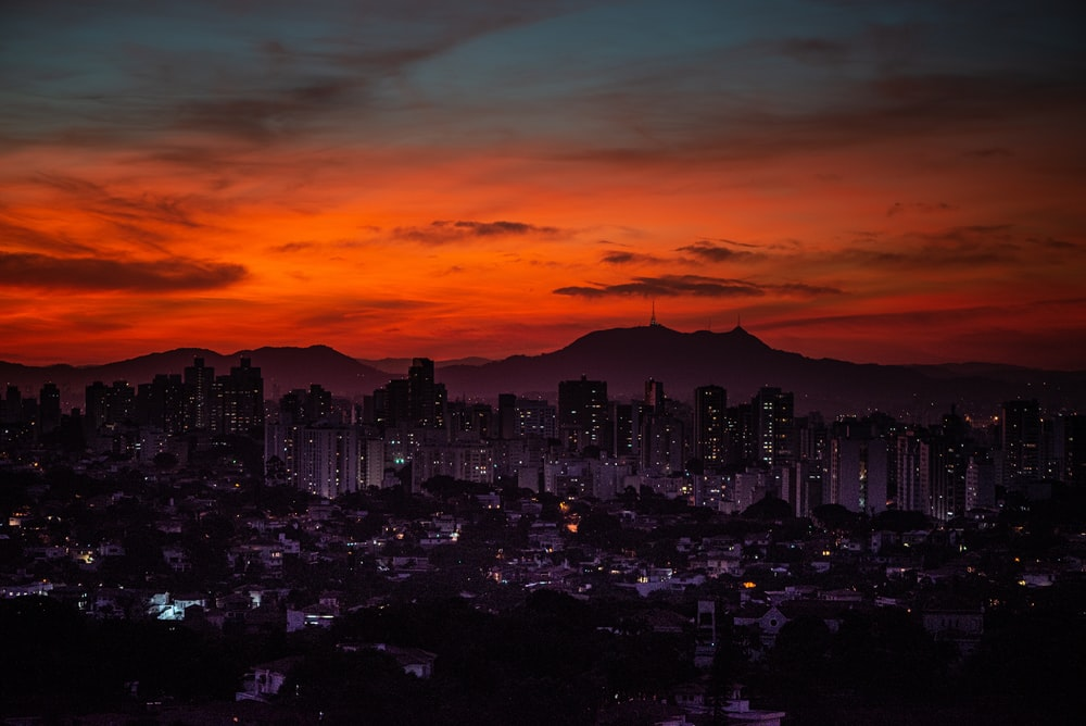 skyline city sunset view