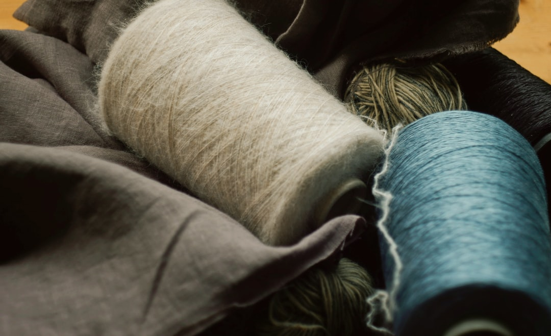 Wool and silk coils on linen fabric for knitting craft supplies
