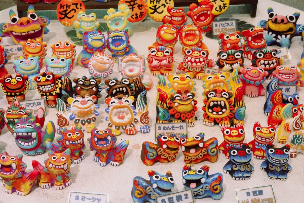 assorted-color character figurines