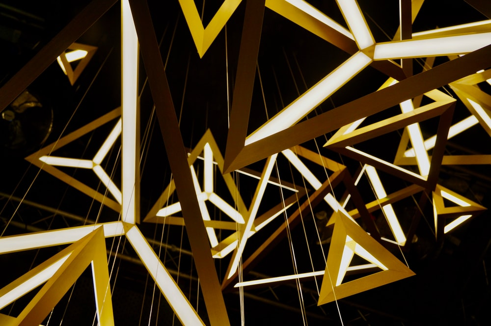 yellow and brown triangle ceiling decors