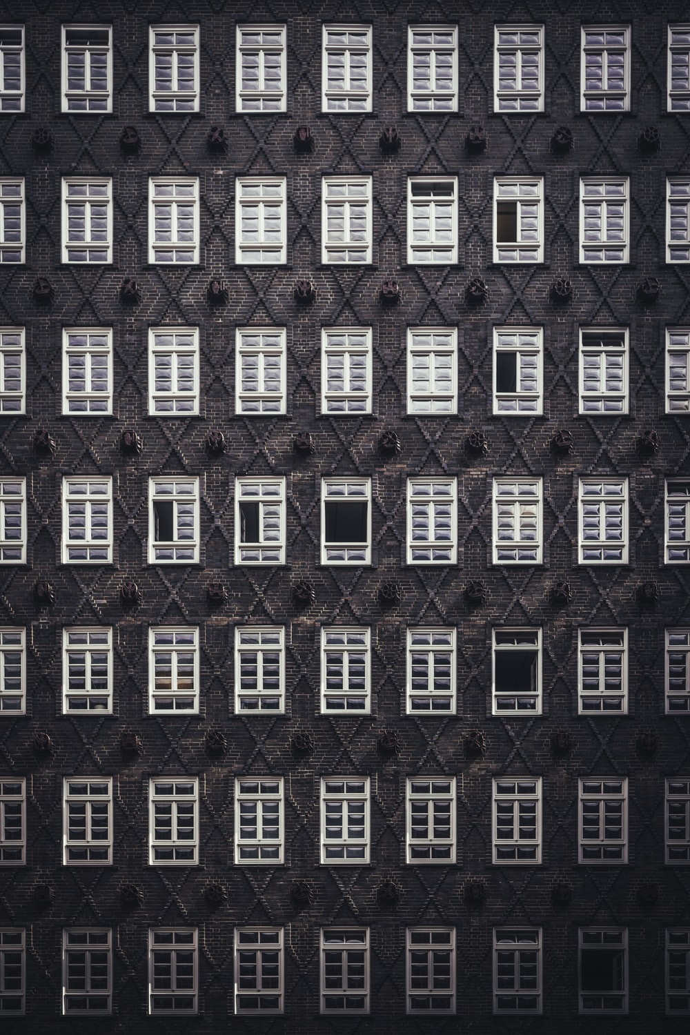 rows of white wooden windows
