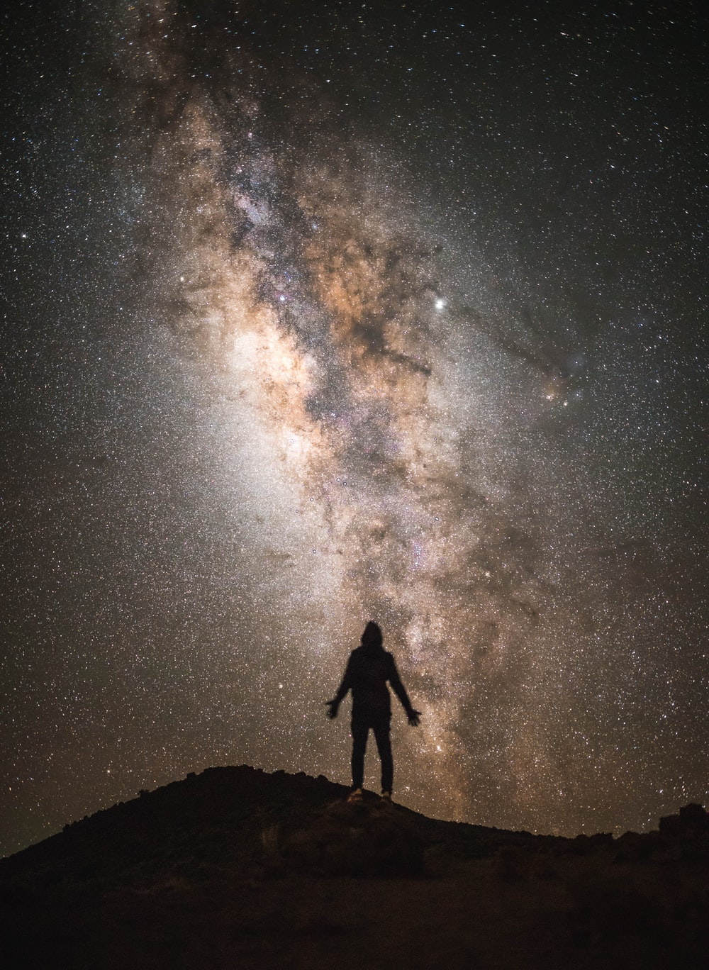 silhouette of a man with the Milky Way background
