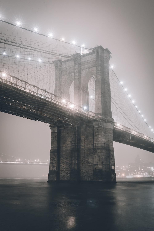 greyscale photo bridge