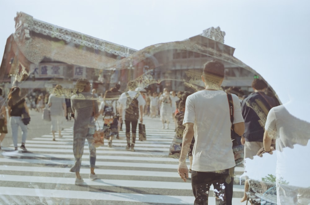 crowd on a pedestrian lane