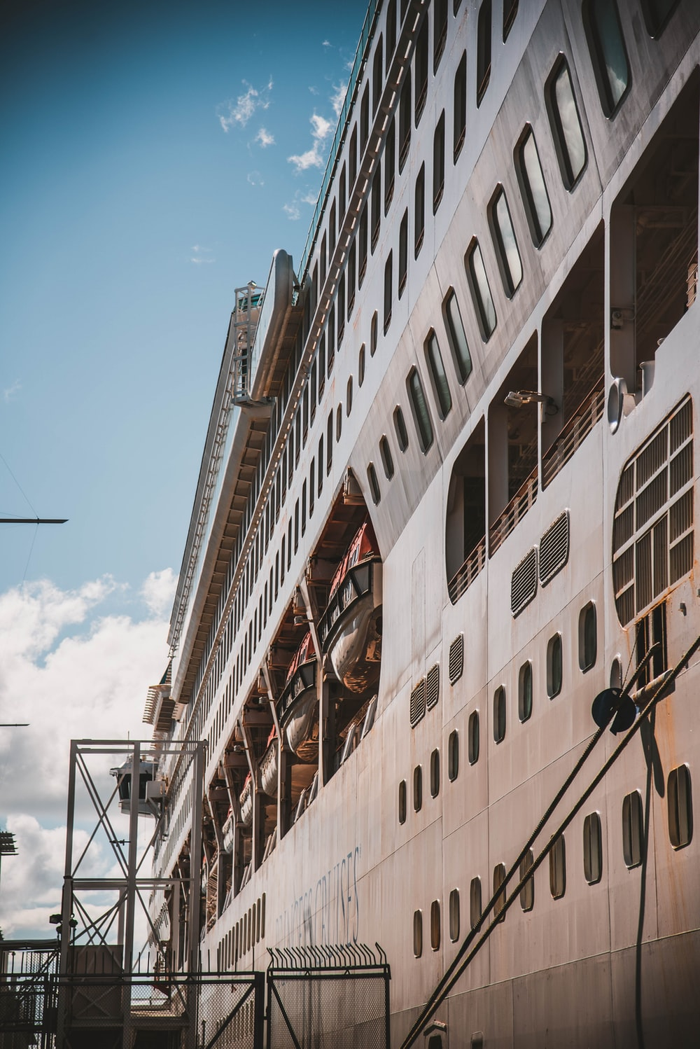 low-angle photography of white cruise ship
