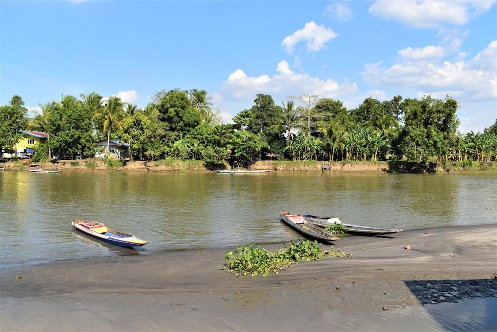 gray boats beside lake
