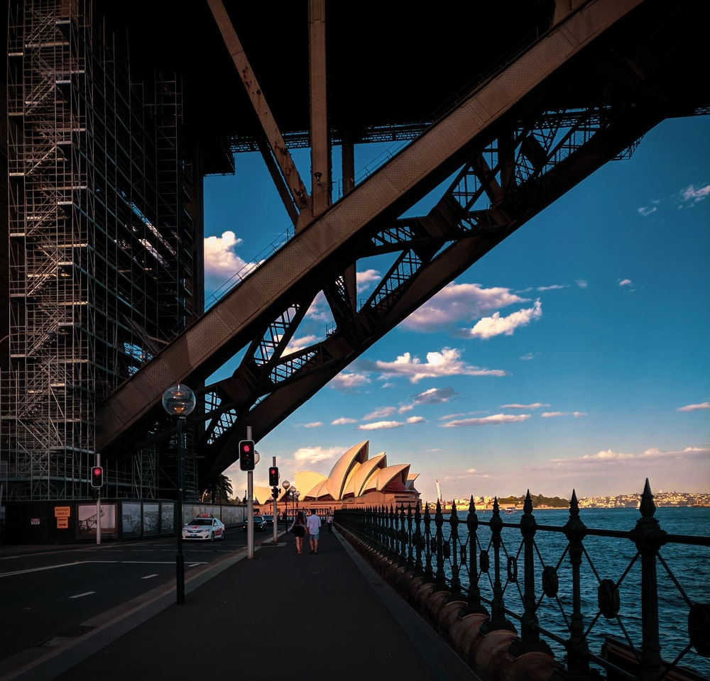 architectural photography of brown bridge
