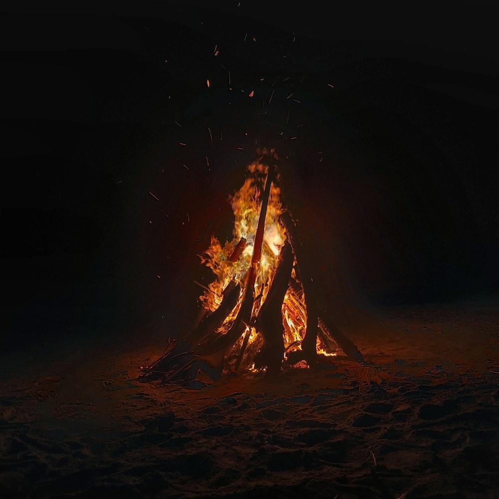 bonfire beside sea