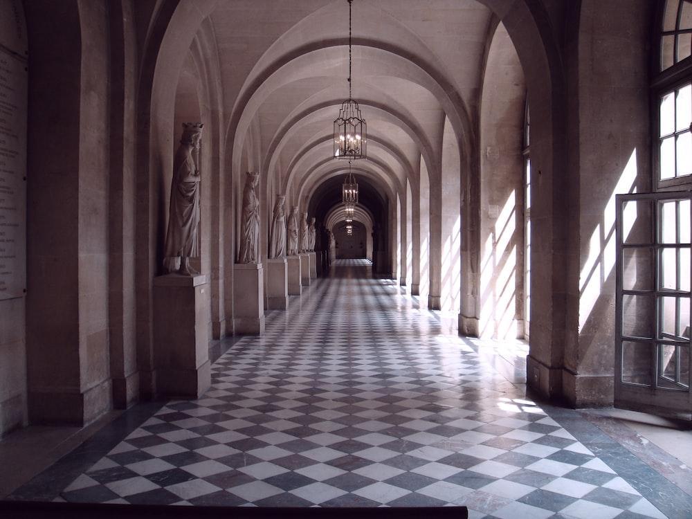gray and white hallway