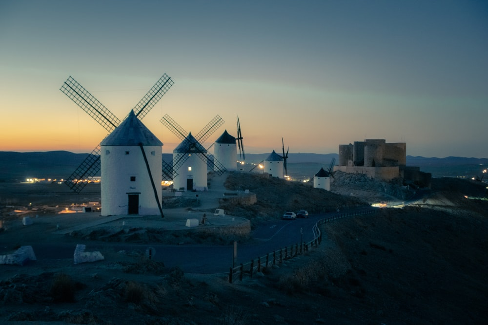landscape photo of a row of windmills