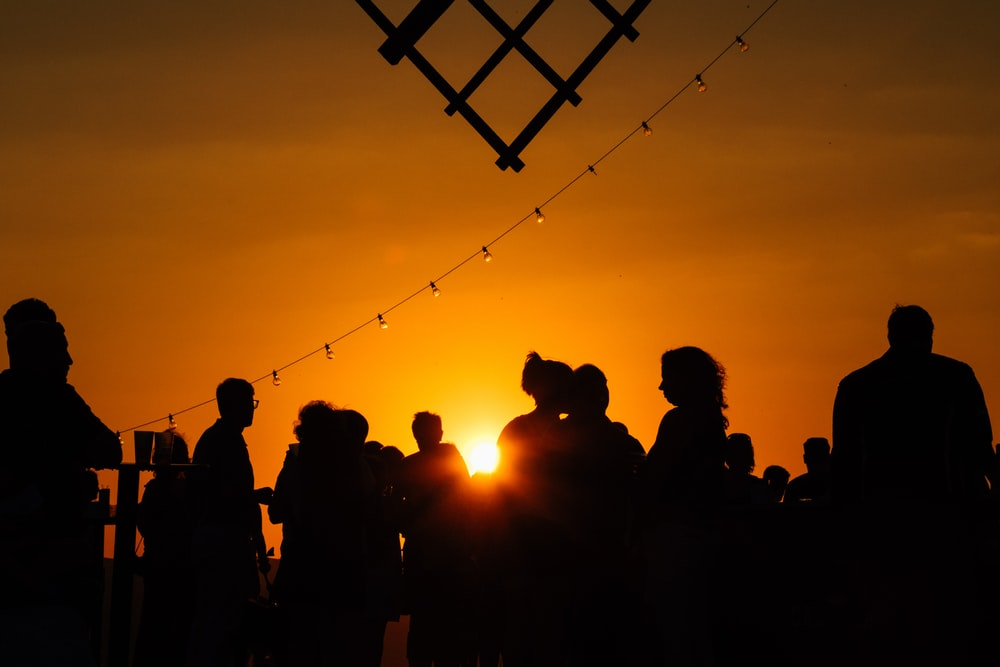 silhouette of peoples