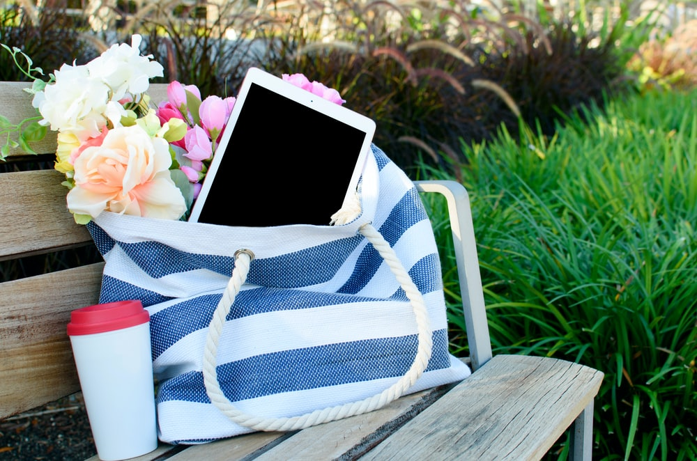 blue and white striped tote bag