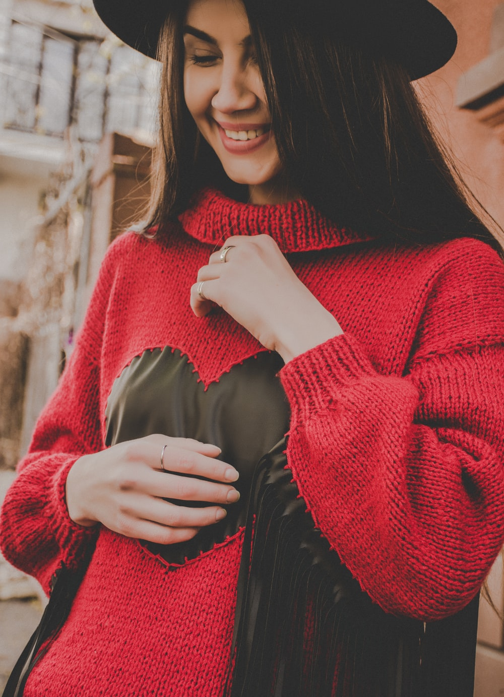 women's red sweater