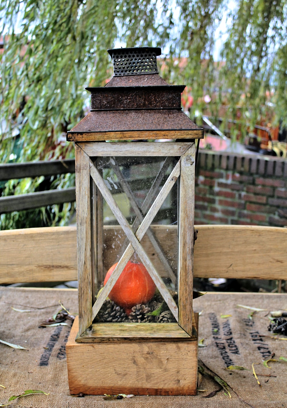 brown metal and wooden vintage lamp