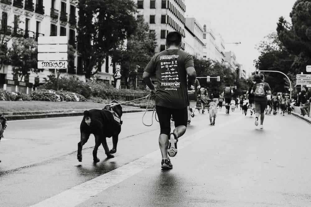 pessoa correndo com cachorro na estrada