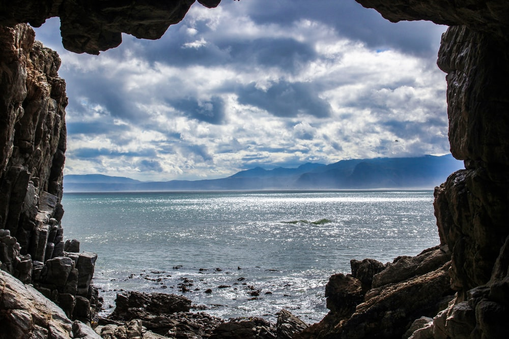 view of ocean from cave