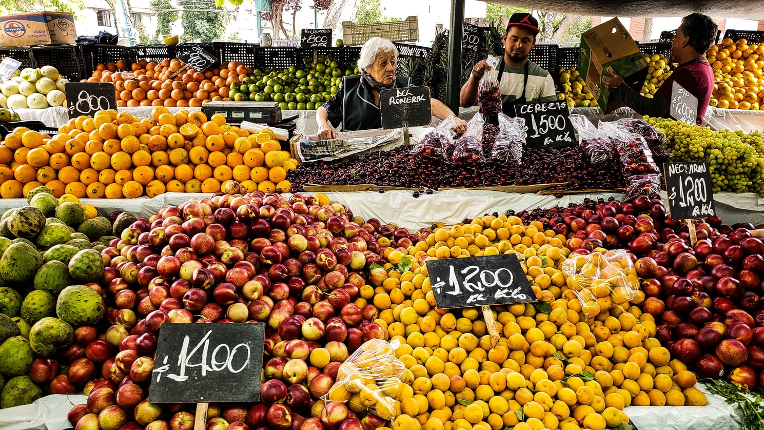 lots of fruit during daytime market