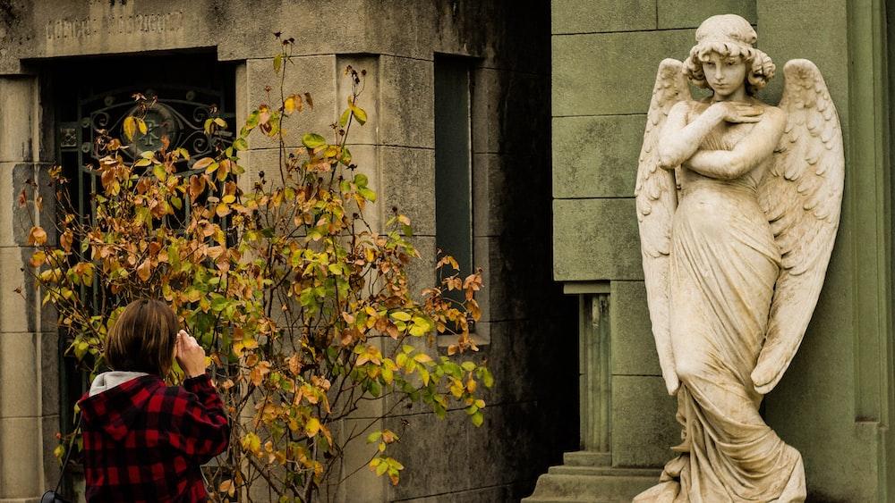 angel statue near plant