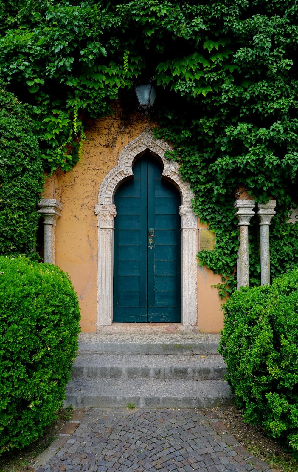 closed green wooden door