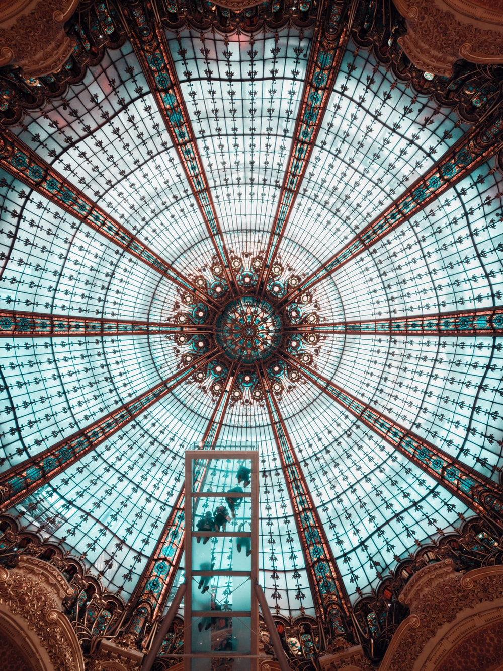 teal and brown glass ceiling