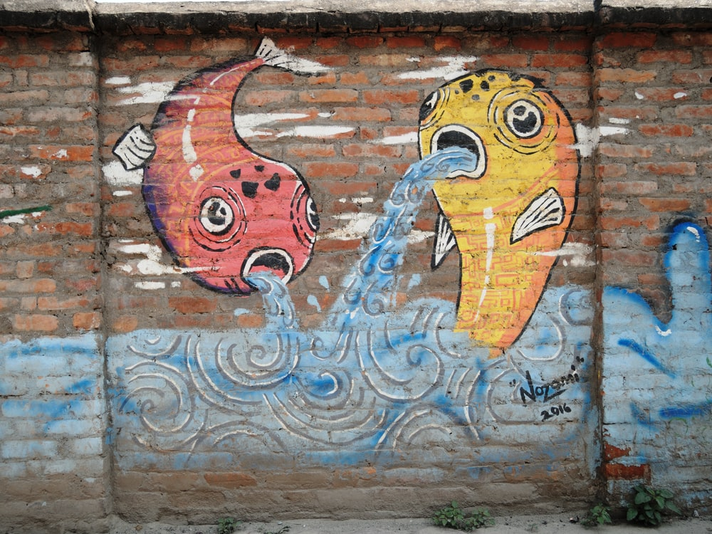 yellow and red fish graffiti