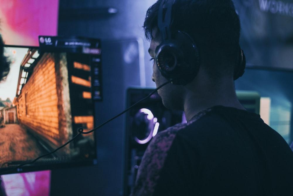 man wearing headset