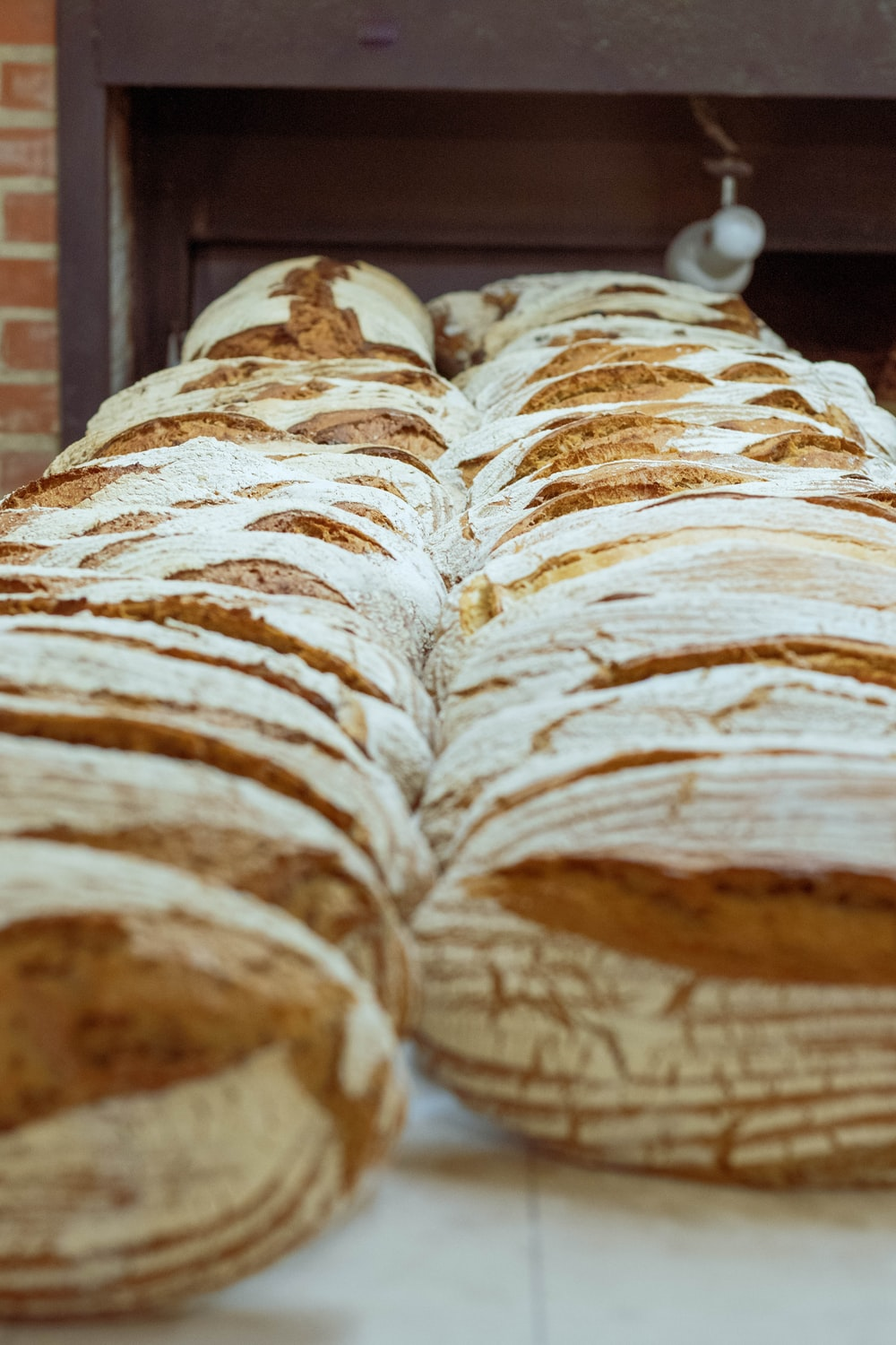 rows of bread loaves
