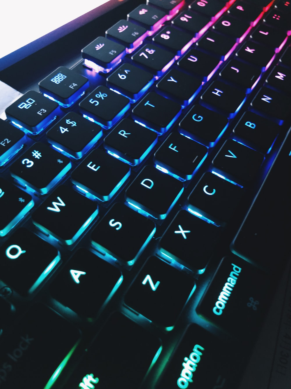 black lighted computer keyboard