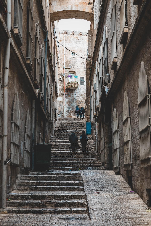 people walking in alley
