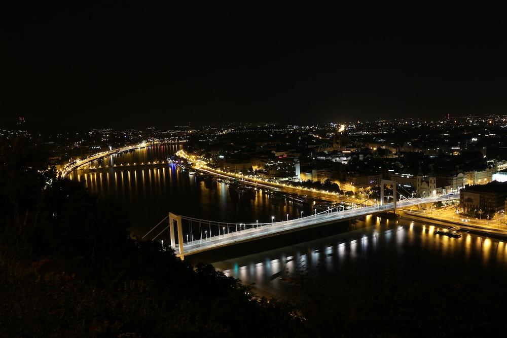 lighted city skyline