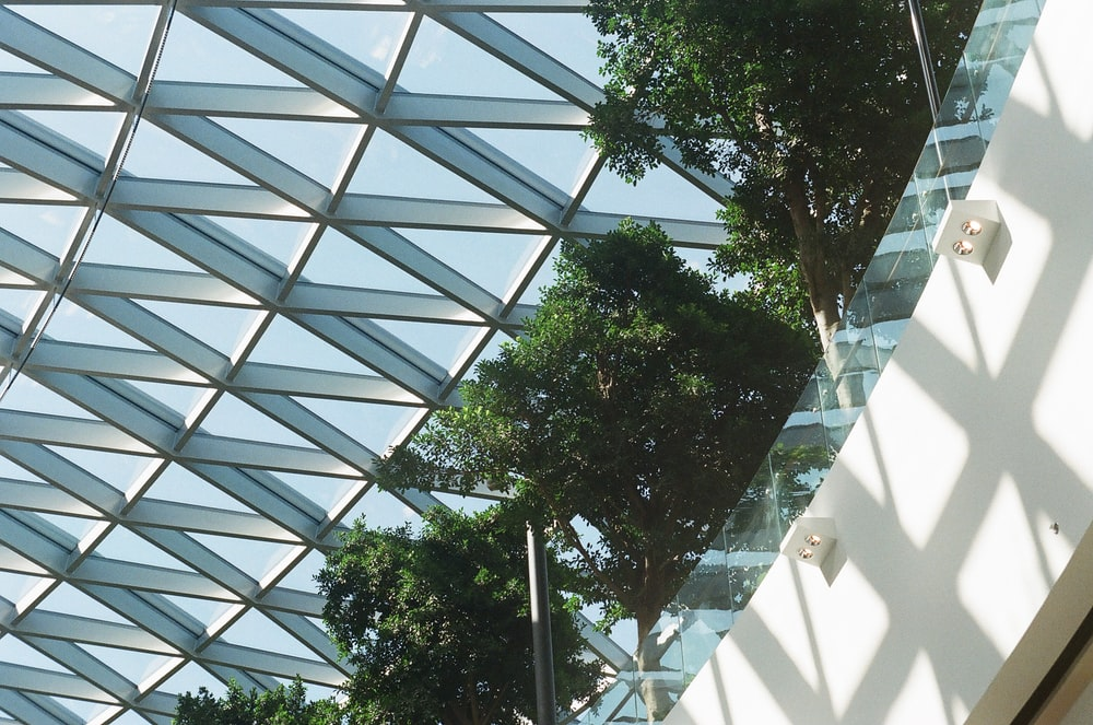 low-angle photography of clear glass dome building