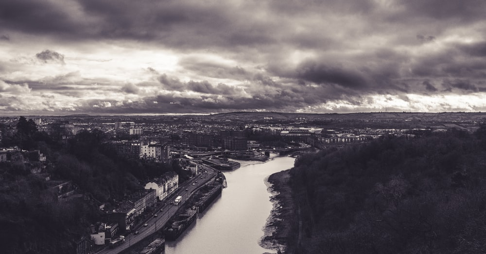 grayscale aerial view photo or river
