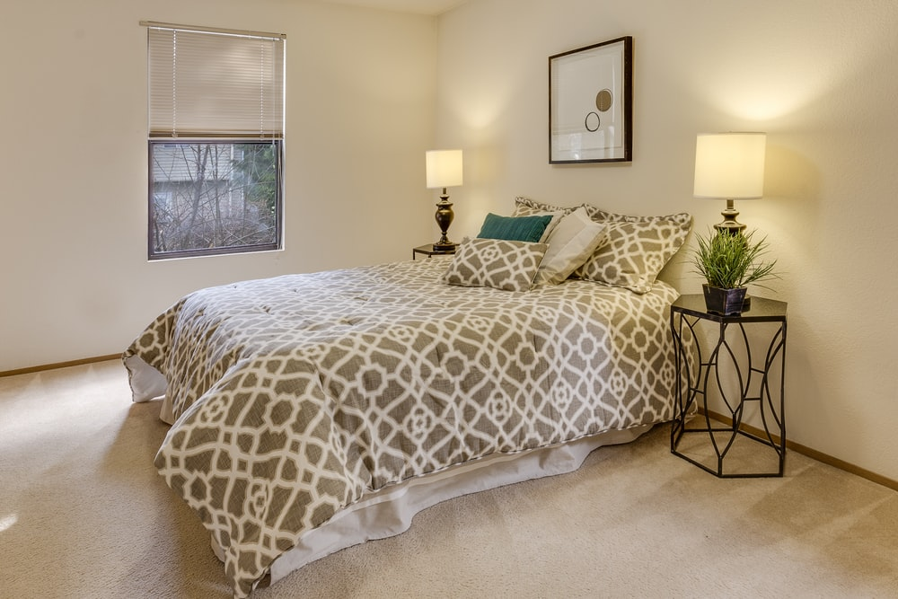 white-and-brown quatrefoil bedspread set on bed near window