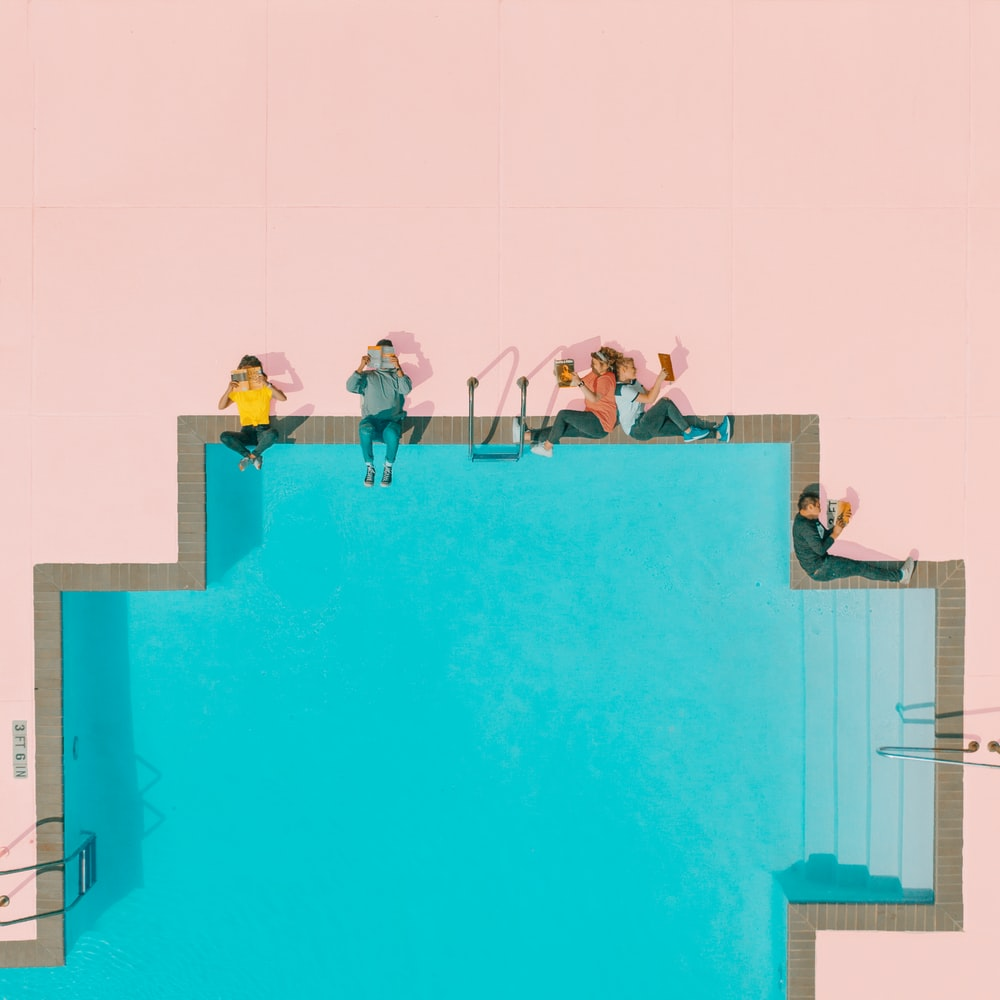 people beside pool illustration