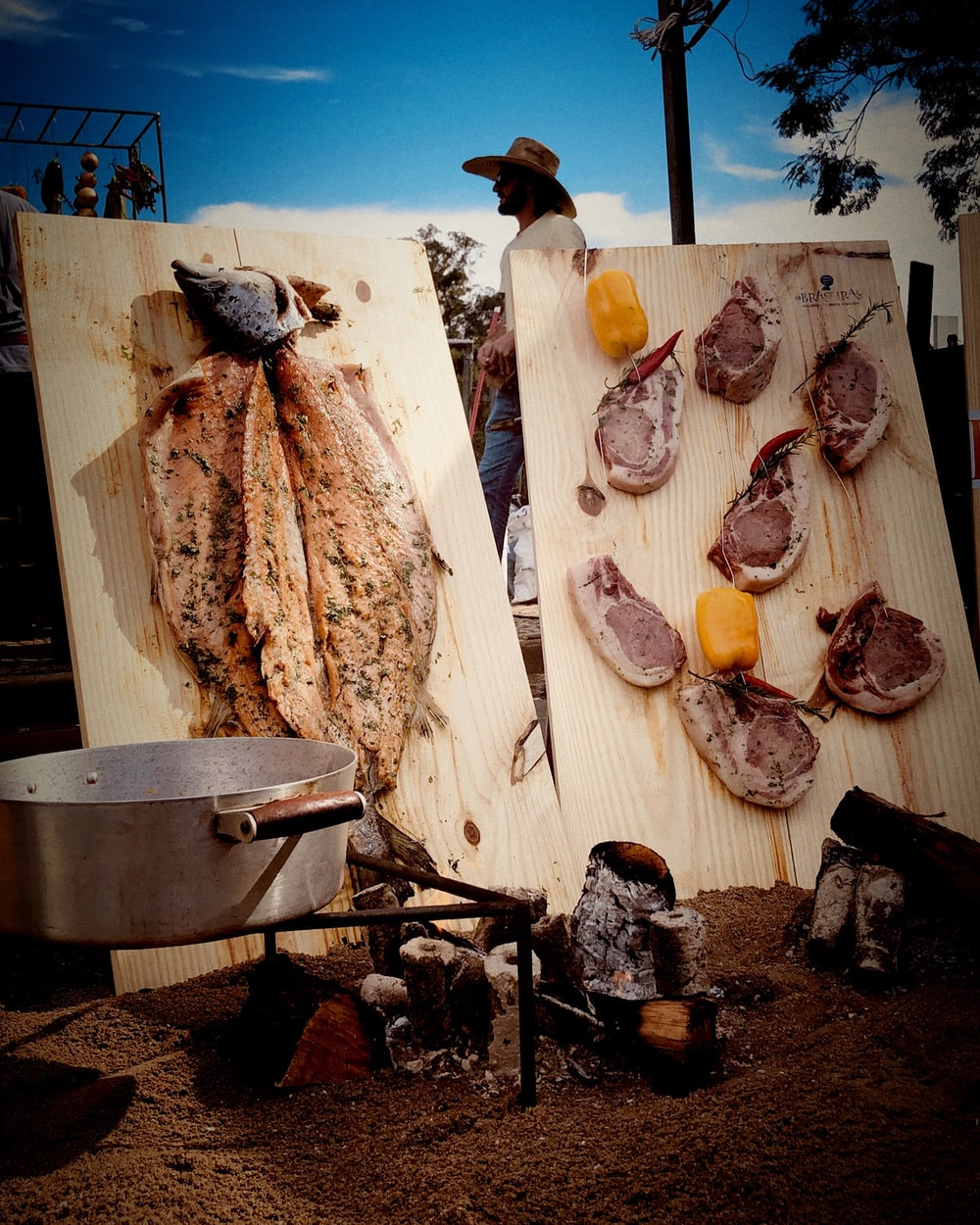 two varieties of cooked meats