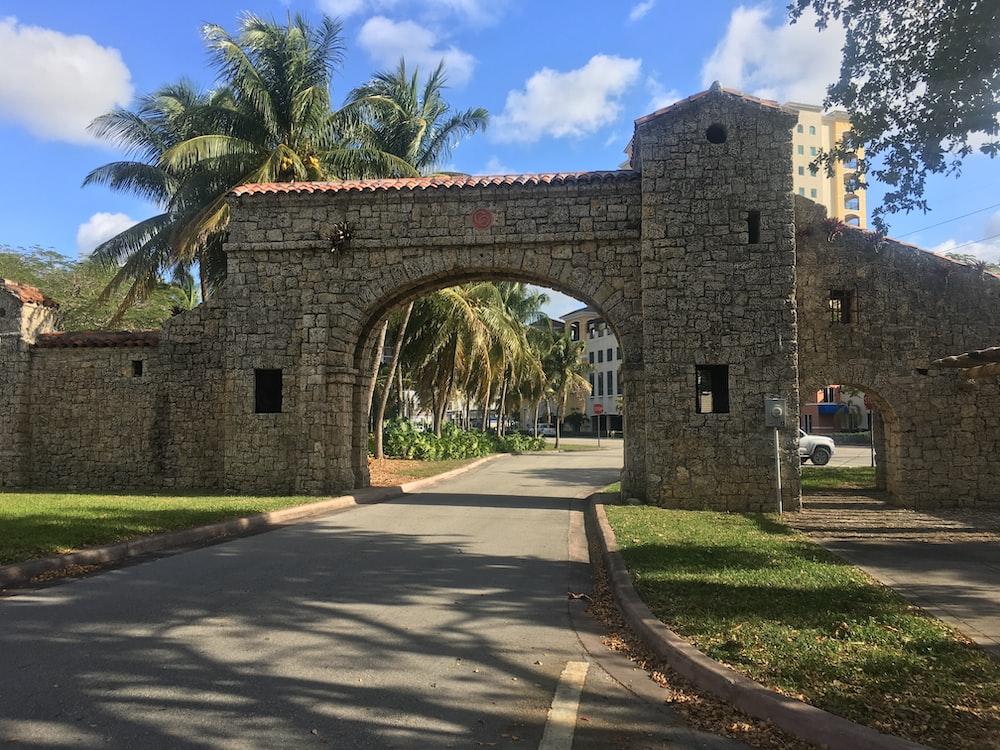 beige concrete arch