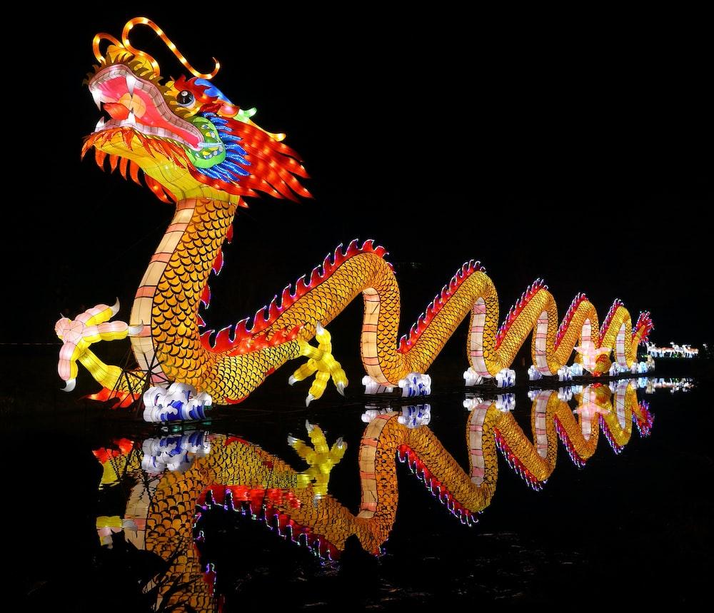 gold dragon statue