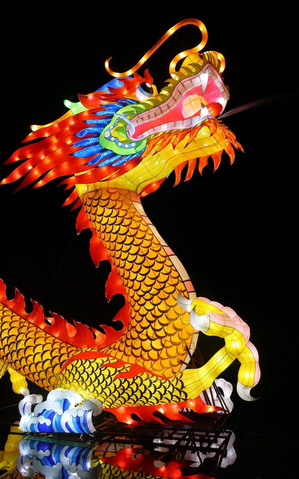 orange dragon illustration