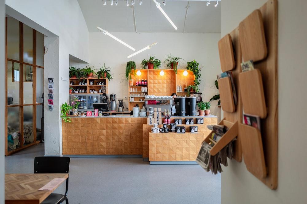brown wooden wall rack across counter
