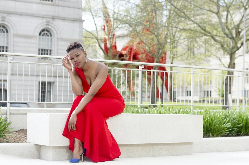 women wearing red dress