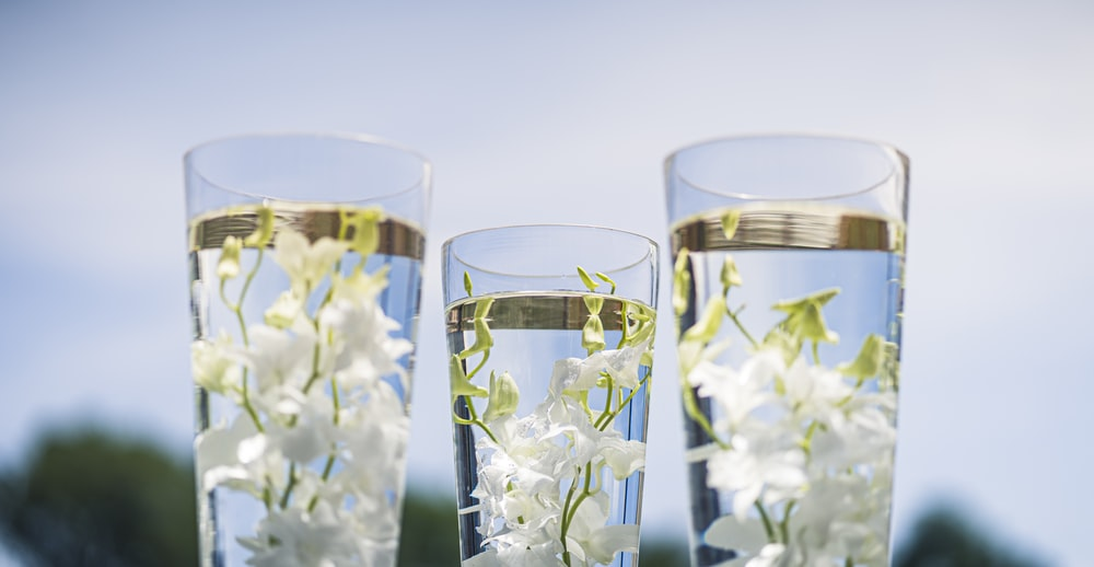 three clear drinking glasses